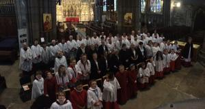 The combined choirs of Doncaster, Grimsby, and Halifax Minsters at the end of the performance of Stainer's Crucifixion